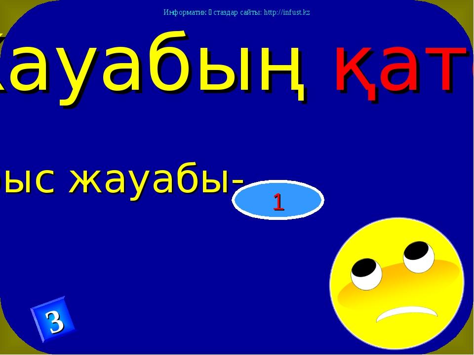 Жауабың қате Дұрыс жауабы- 1 3 Информатик ұстаздар сайты: http://infust.kz