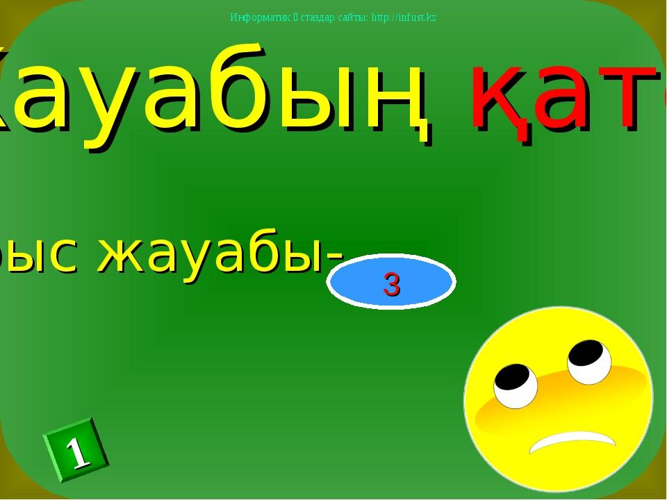 Жауабың қате Дұрыс жауабы- 3 1 Информатик ұстаздар сайты: http://infust.kz