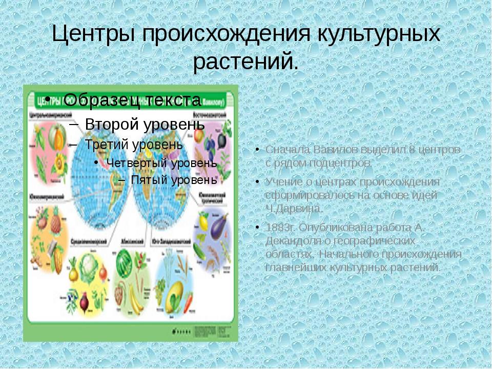 Центры происхождения культурных растений. Сначала Вавилов выделил 8 центров с...