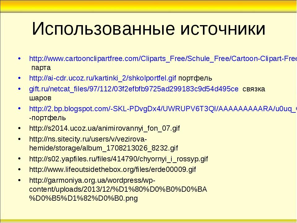 Использованные источники http://www.cartoonclipartfree.com/Cliparts_Free/Schu...