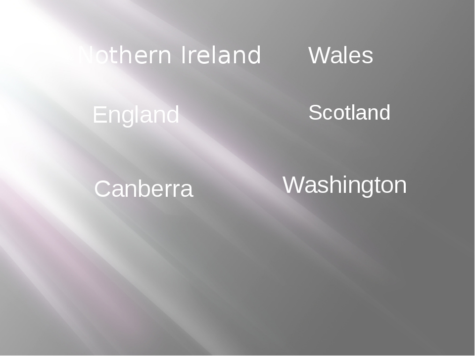 Nothern Ireland England Canberra Washington Wales Scotland