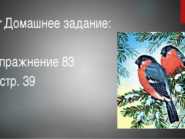 Домашнее задание: упражнение 83 стр. 39