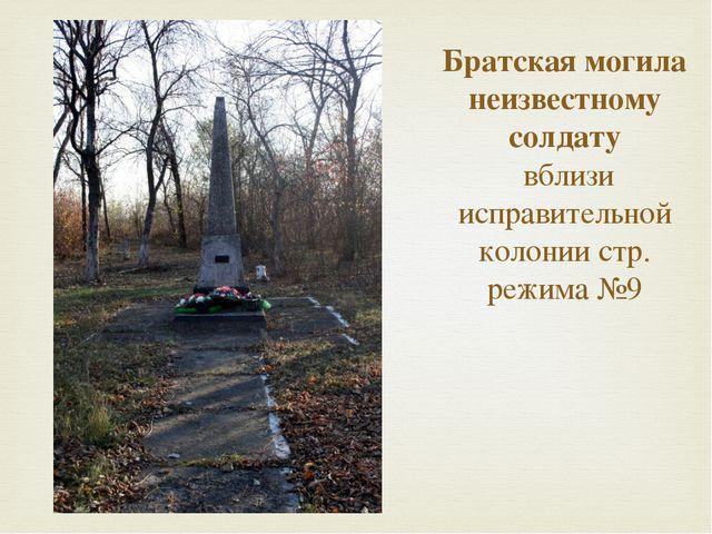 Братская могила неизвестному солдату  вблизи исправительной колонии стр. режи...