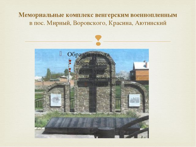 Мемориальные комплекс венгерским военнопленным в пос. Мирный, Воровского, Кра...
