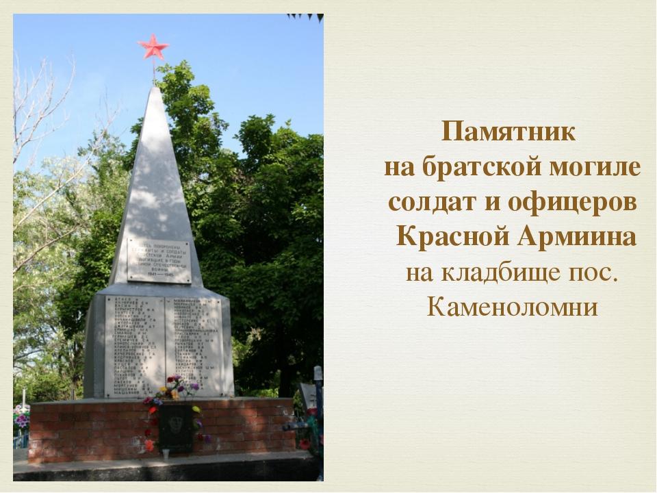 Памятник  на братской могиле солдат и офицеров  Красной Армиина на кладбище п...