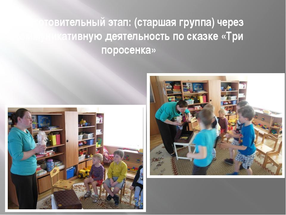 Подготовительный этап: (старшая группа) через коммуникативную деятельность по...