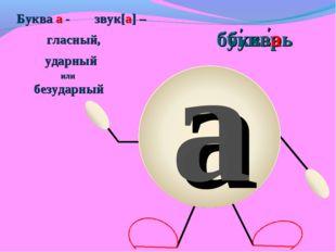 а букварь Буква а - звук[а] – гласный, ударный или безударный ' ' буква