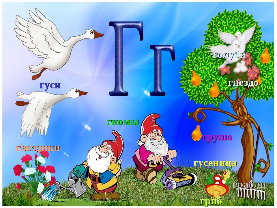 гуси голуби гнездо гвоздики груша грабли гриб гусеница гномы