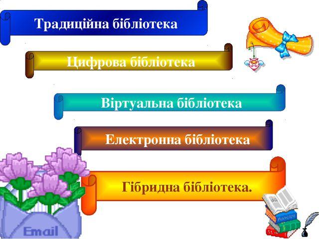 Традиційна бібліотека Цифрова бібліотека Віртуальна бібліотека Електронна біб...