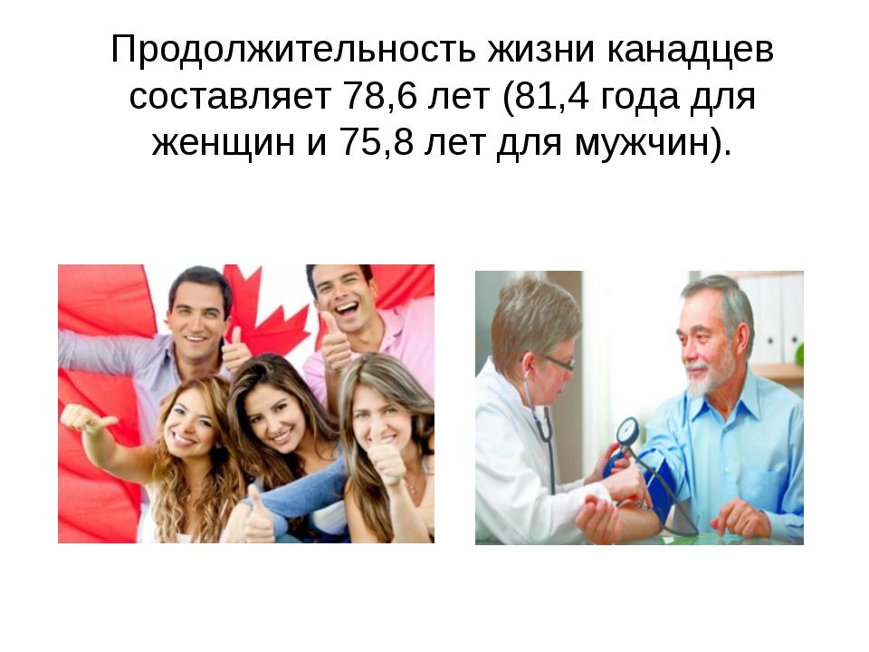 Продолжительность жизни канадцев составляет 78,6 лет (81,4 года для женщин и...