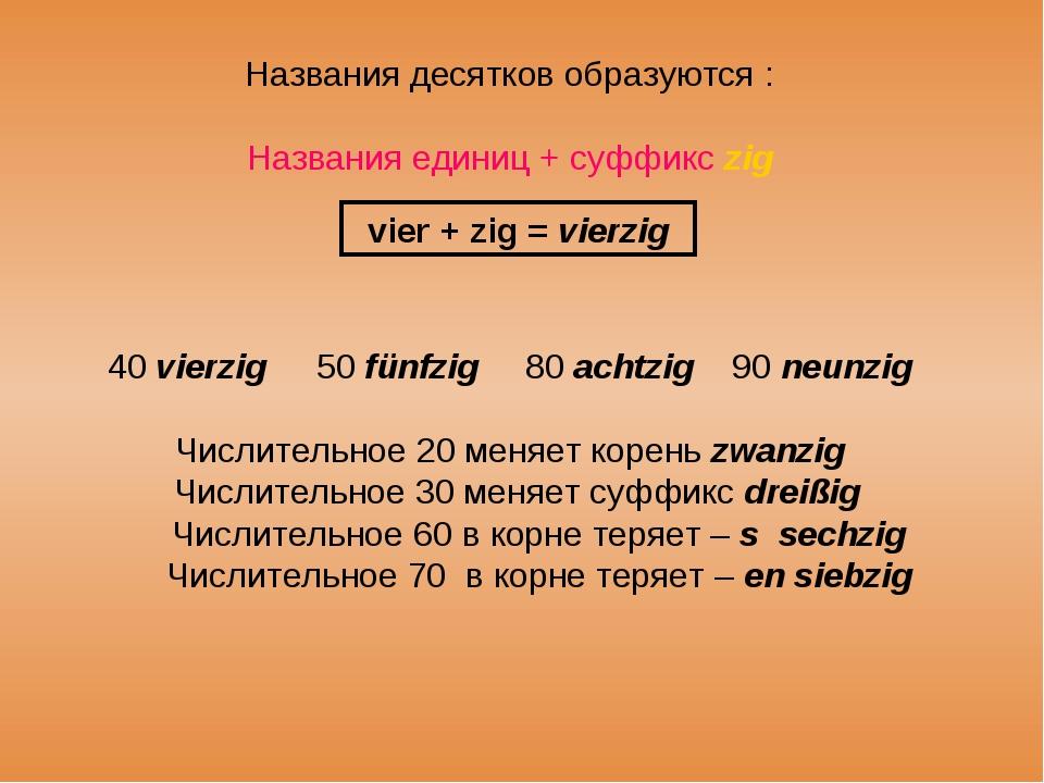 Названия десятков образуются : Названия единиц + суффикс zig 40 vierzig50 fü...