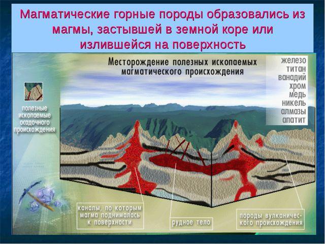 Магматические горные породы образовались из магмы, застывшей в земной коре ил...