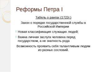 Реформы Петра I Табель о рангах (1722г.) Закон о порядке государственной служ