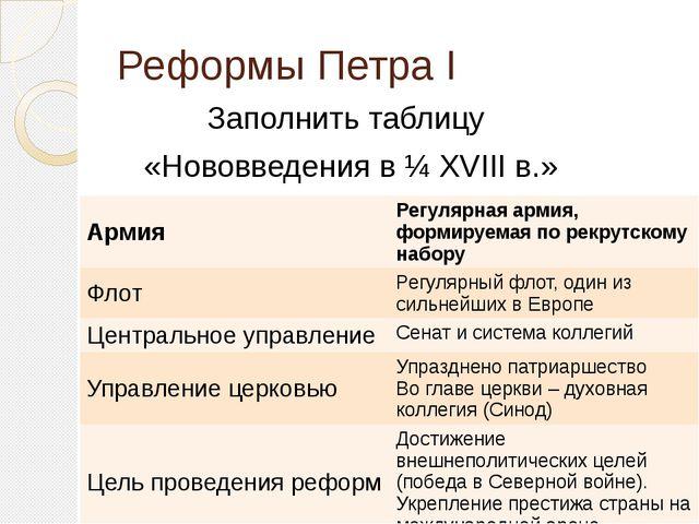 Реформы Петра I Заполнить таблицу «Нововведения в ¼ XVIII в.» Армия Регулярна...