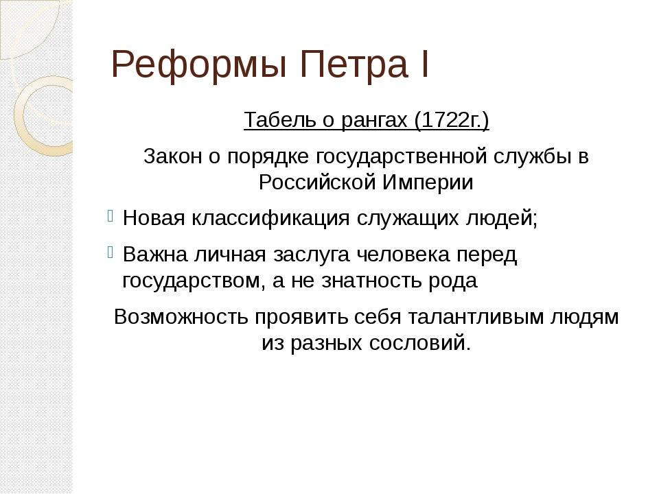 Реформы Петра I Табель о рангах (1722г.) Закон о порядке государственной служ...