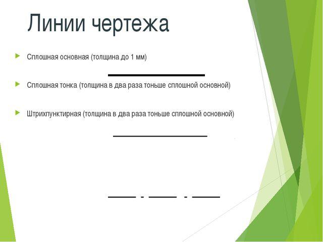 Линии чертежа Сплошная основная (толщина до 1 мм) Сплошная тонка (толщина в д...