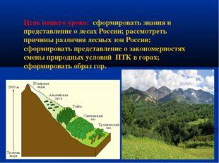 Цель нашего урока: сформировать знания и представление о лесах России; рассмо