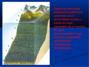 Характер высотной поясности меняется в зависимости от экспозиции склона, а та