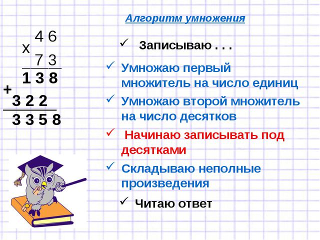 Записываю . . . 4 6 7 3 х Умножаю первый множитель на число единиц _________...