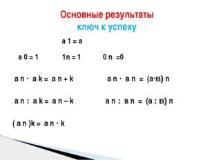 а 1 = а а 0 = 1 1n = 1 0 n =0 а n · а k = а n + k а n · в n = (а·в) n а n :