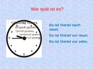 Wie spät ist es? Es ist Viertel nach neun. Es ist Viertel vor neun. Es ist Vi
