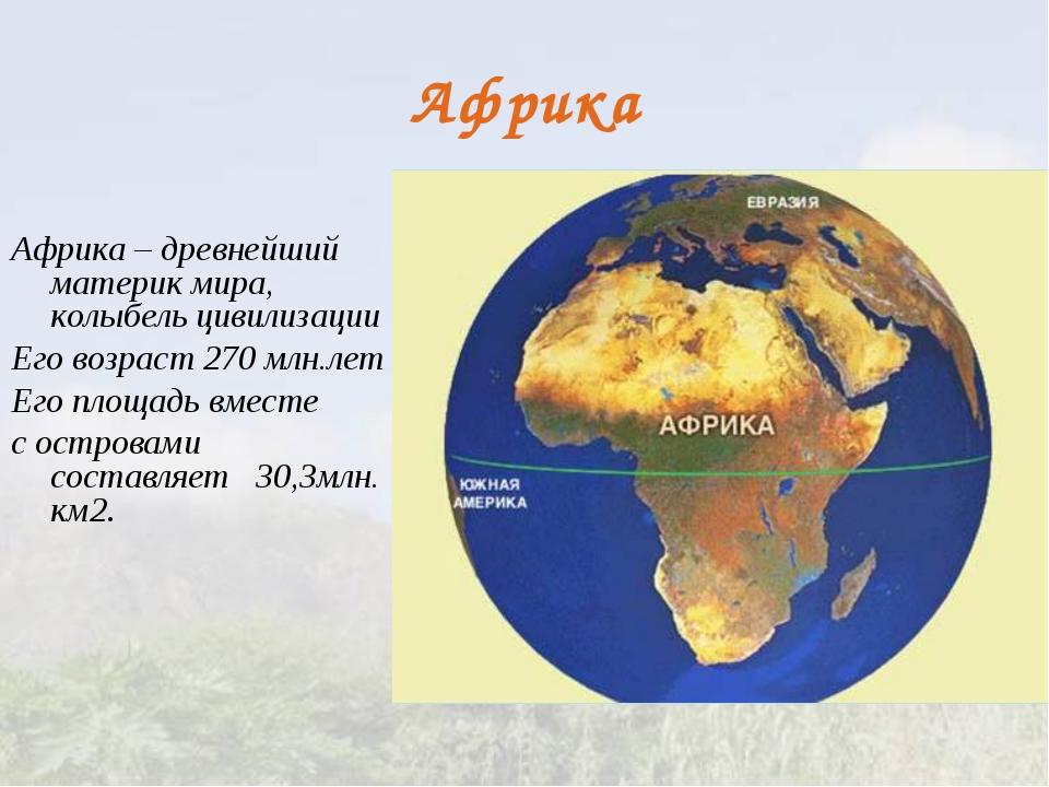 Африка Африка – древнейший материк мира, колыбель цивилизации Его возраст 270...