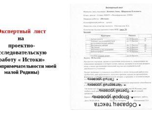 Экспертный лист на проектно- исследовательскую работу « Истоки» (достопримеча