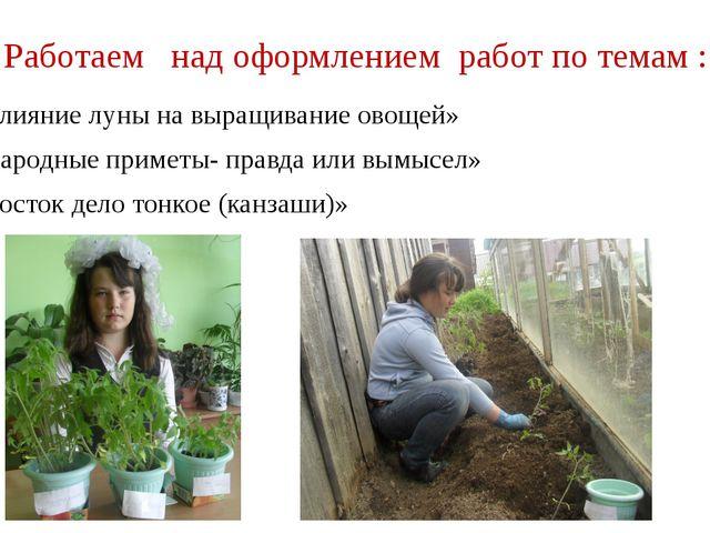 Работаем над оформлением работ по темам : «Влияние луны на выращивание овощей...
