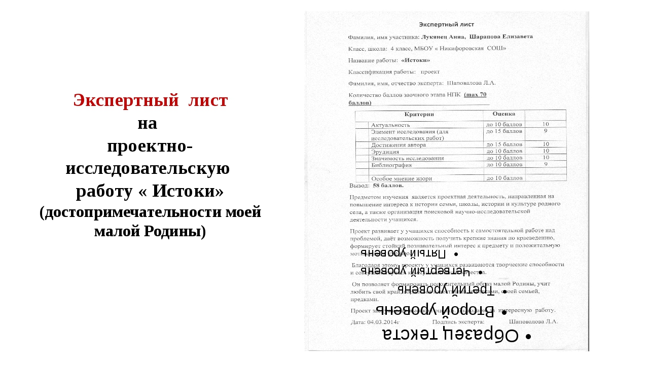 Экспертный лист на проектно- исследовательскую работу « Истоки» (достопримеча...