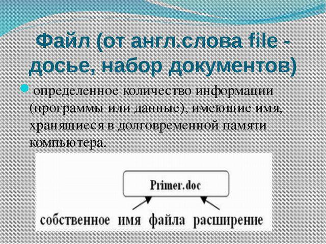 Файл (от англ.слова file - досье, набор документов) определенное количество и...