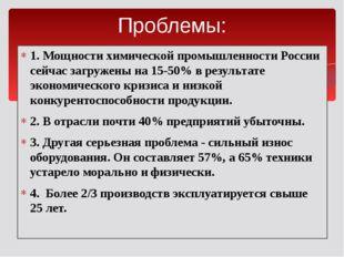 1. Мощности химической промышленности России сейчас загружены на 15-50% в рез