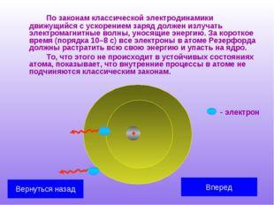 По законам классической электродинамики движущийся с ускорением заряд долже