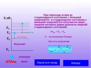 II ПОСТУЛАТ БОРА При переходе атома из стационарного состояния с большей эне