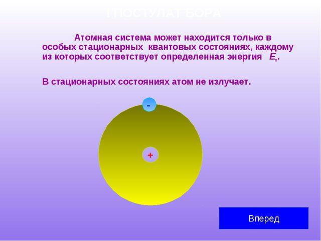 I ПОСТУЛАТ БОРА Атомная система может находится только в особых стационарных...