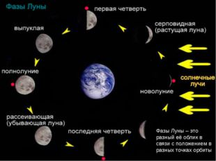 Фазы Луны – это разный её облик в связи с положением в разных точках орбиты