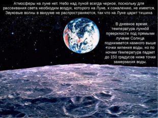 Атмосферы на луне нет. Небо над луной всегда черное, поскольку для рассеивани
