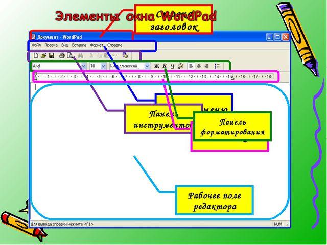 Строка заголовок Строка меню Панель инструментов Линейка Панель форматировани...