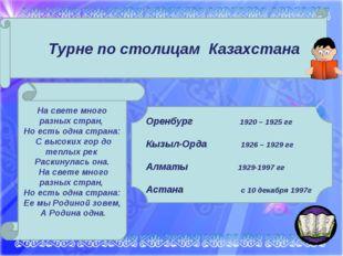 Турне по столицам Казахстана Оренбург 1920 – 1925 гг Кызыл-Орда 1926 – 1929