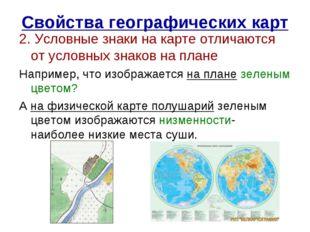 Свойства географических карт 2. Условные знаки на карте отличаются от условны