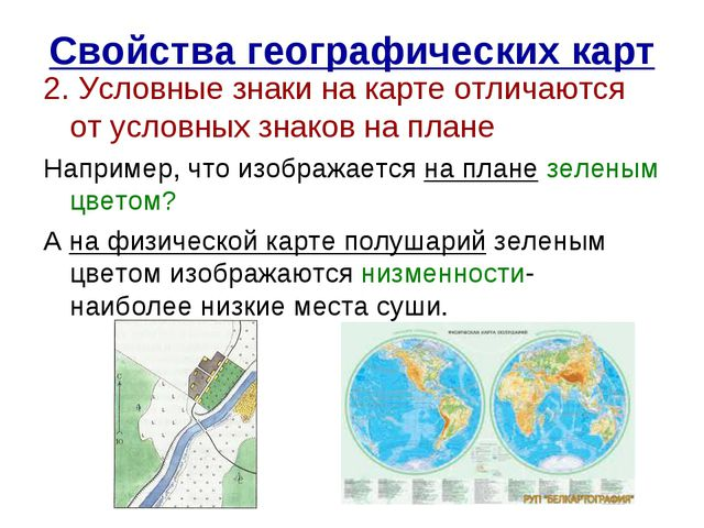 Свойства географических карт 2. Условные знаки на карте отличаются от условны...