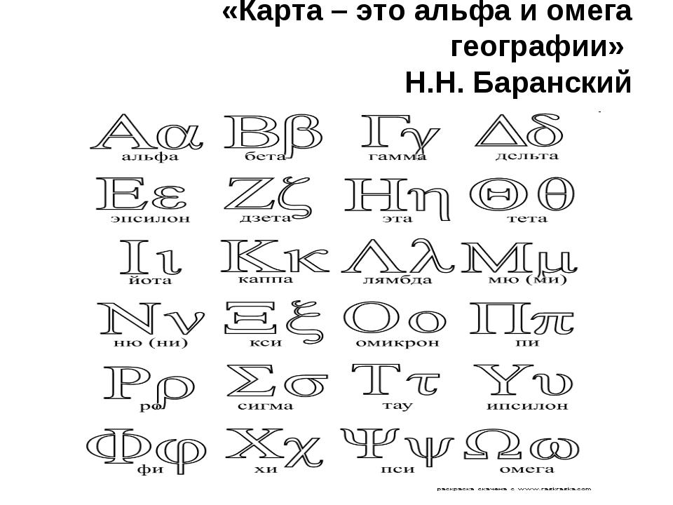 «Карта – это альфа и омега географии» Н.Н. Баранский