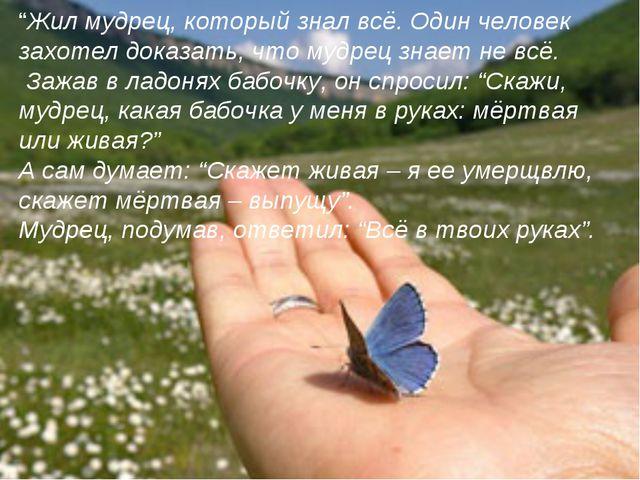 """""""Жил мудрец, который знал всё. Один человек захотел доказать, что мудрец знае..."""