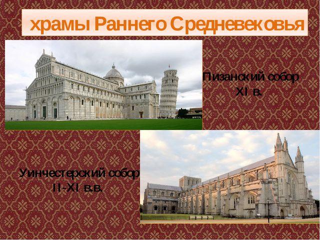 храмы Раннего Средневековья Уинчестерский собор II-XI в.в. Пизанский собор X...