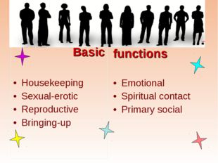 Basic Housekeeping Sexual-erotic Reproductive Bringing-up functions Emotiona
