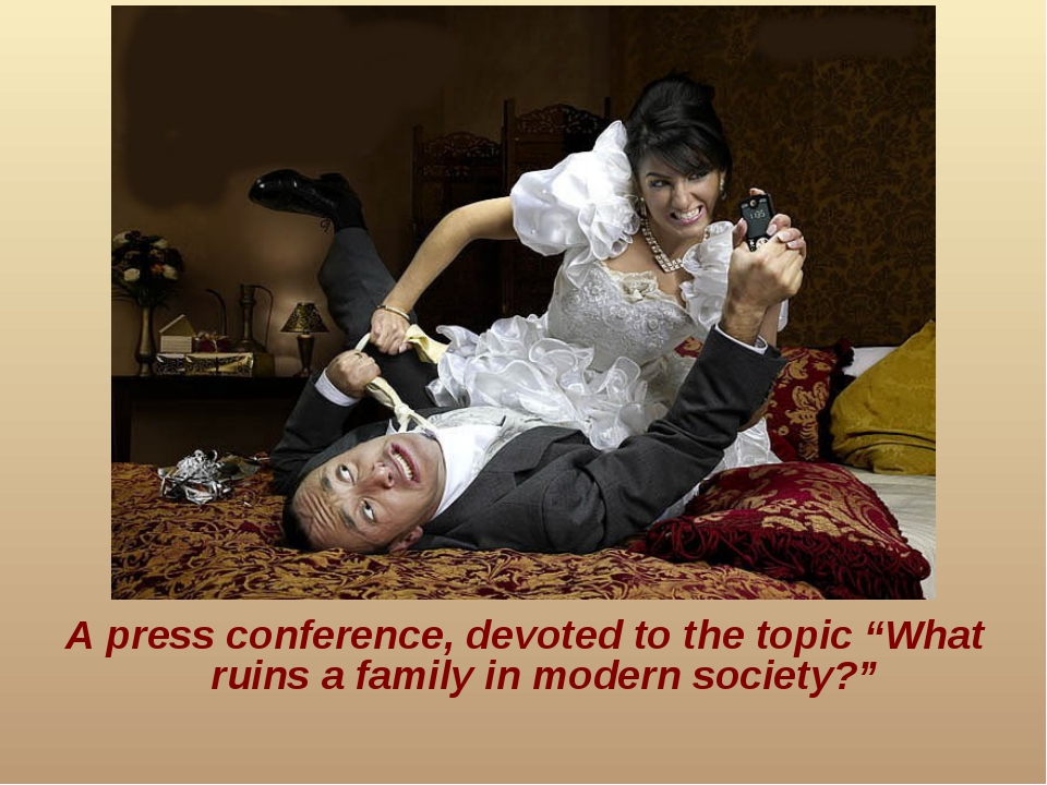 "A press conference, devoted to the topic ""What ruins a family in modern socie..."