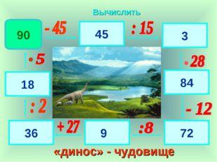 90 45 3 84 72 9 36 18 Вычислить «динос» - чудовище