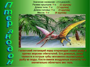 Гигантский летающий ящер птеранодон ловил рыбу и прочих морских обитателей. Е