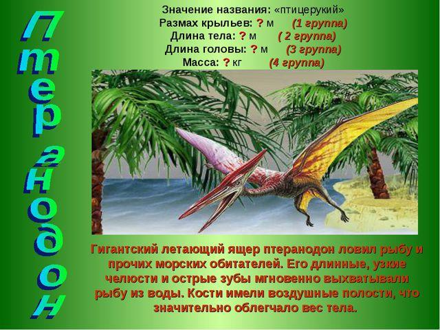 Гигантский летающий ящер птеранодон ловил рыбу и прочих морских обитателей. Е...