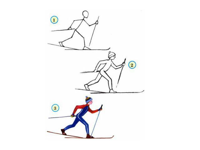 Рисование фигуры лыжника в движении 7 класс