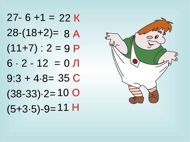 27- 6 +1 = 28-(18+2)= (11+7) : 2 = 6 · 2 - 12 = 9:3 + 4·8= (38-33)·2= (5+3·5)...